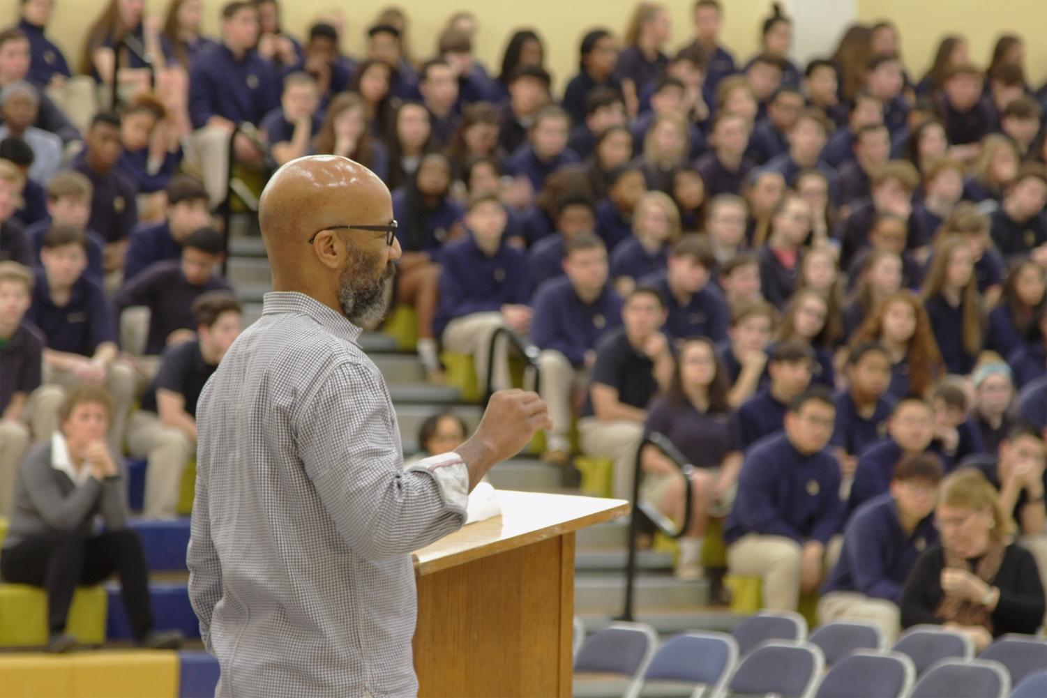 On February 2nd, Good Counsel alumni Kevin Blackistone came to GC to give students a talk on diversity. Taken by: Paul Kennedy